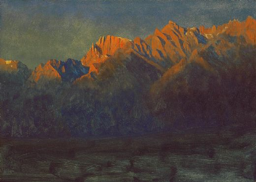 albert bierstadt sunrise in the sierras painting