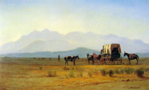 albert bierstadt surveyor s wagon in the rockies paintings