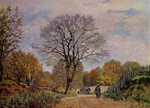 alfred sisley a road in seine painting
