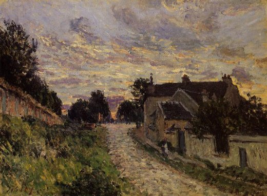 alfred sisley a small street in louveciennes painting