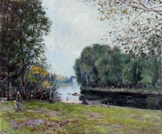 alfred sisleya turn of the river loing summer Painting-37260