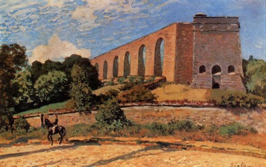alfred sisley aqueduct at marly painting