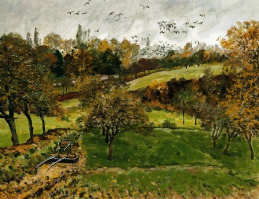 alfred sisleyautumn landscape louveciennnes Painting-37277