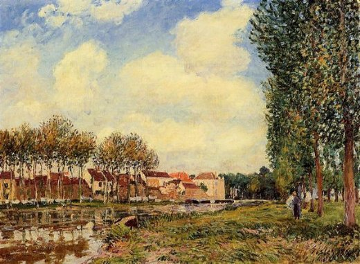 alfred sisley banks of the loing at moret morning painting
