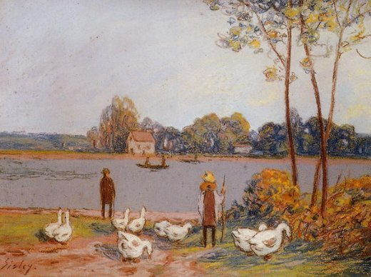 alfred sisley by the river loing posters