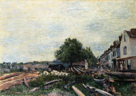 alfred sisley construction site at saint painting