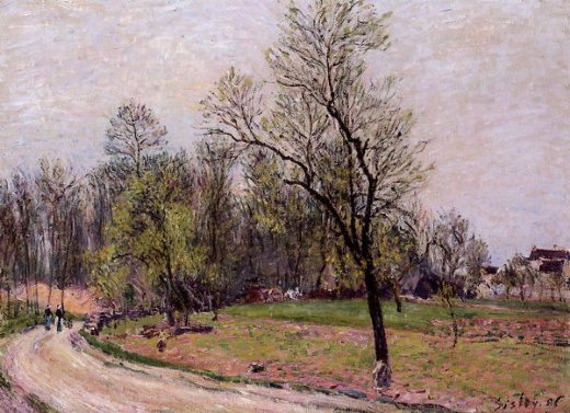 alfred sisley edge of the forest in spring evening paintings