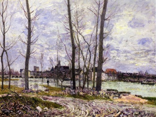 alfred sisley flood at moret painting