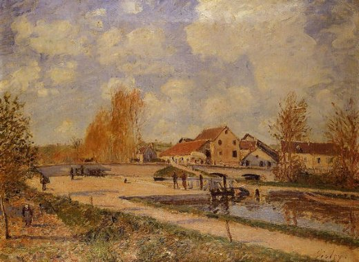alfred sisley the bourgogne lock at moret spring oil painting