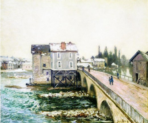 alfred sisley the bridge and mills of moret winter s effect paintings