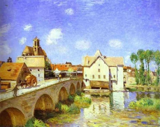 alfred sisleythe bridge at moret Painting-37432