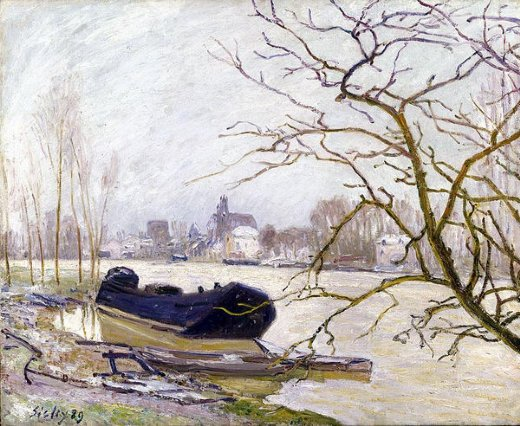 alfred sisley the loing at high water painting