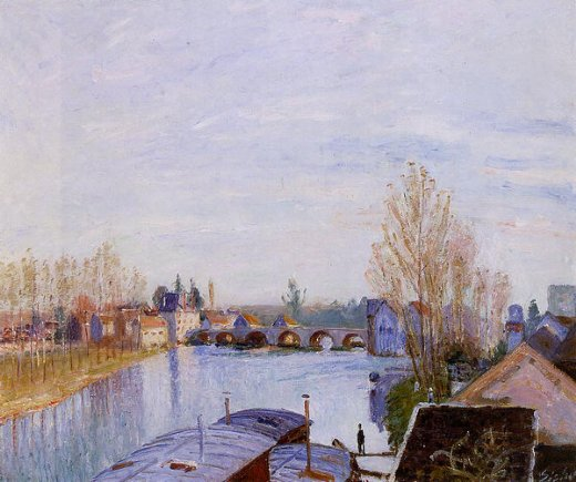 alfred sisley the loing at moret the laundry boat painting