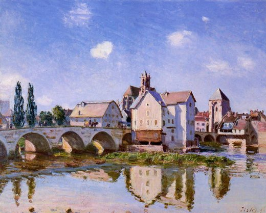 alfred sisley the moret bridge in the sunlight painting