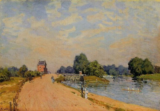 alfred sisley the road from hampton court painting
