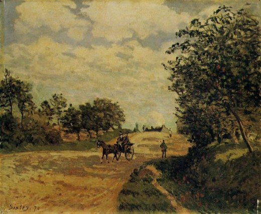 alfred sisley the road from mantes to choisy painting