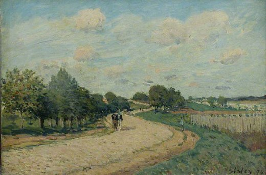 alfred sisley the route to mantes painting