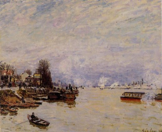 alfred sisley the seine view from the quay de pont du jour painting