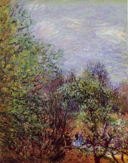 alfred sisley two women walking along the riverbank painting