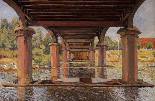 alfred sisley under the bridge at hampton court painting