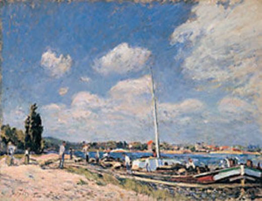 alfred sisley unloading the barges at billancourt painting
