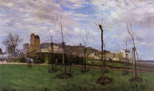 alfred sisley view of montmartre from the cite des fleurs les batignolles paintings