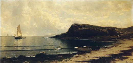 alfred thompson bricher along the shore painting
