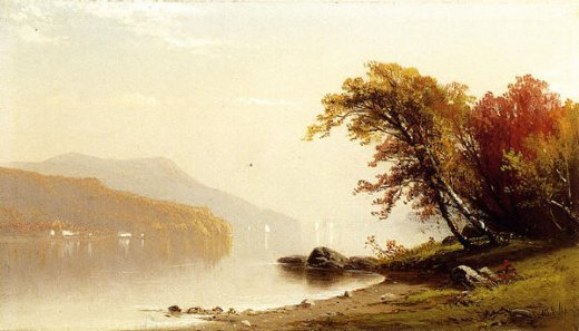 alfred thompson bricher autumn on the lake painting
