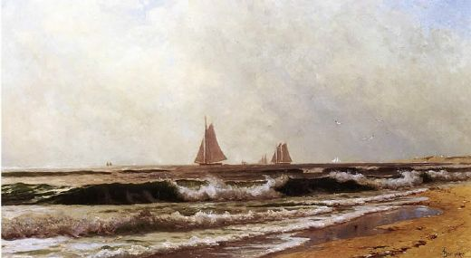 alfred thompson bricher sailboats along the shore also known as southampton beach painting