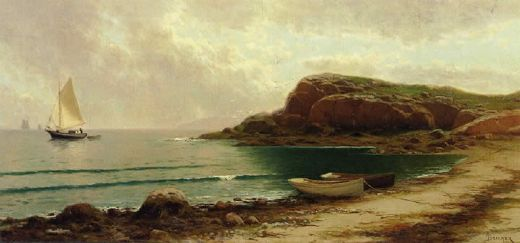 alfred thompson bricher seascape with dories and sailboats painting