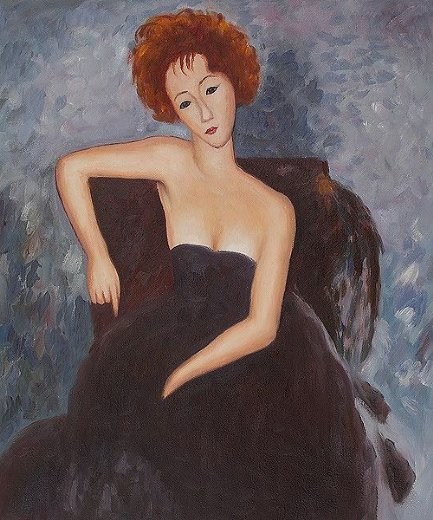 Modigliani, amedeo young redhead in evening dress