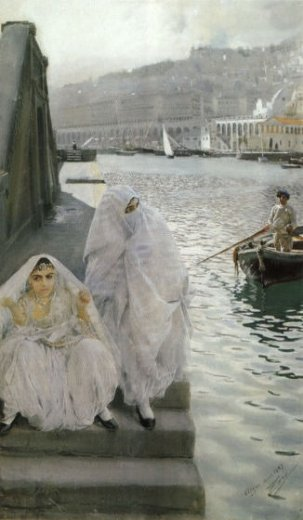 anders zorn in the harbour of algiers painting