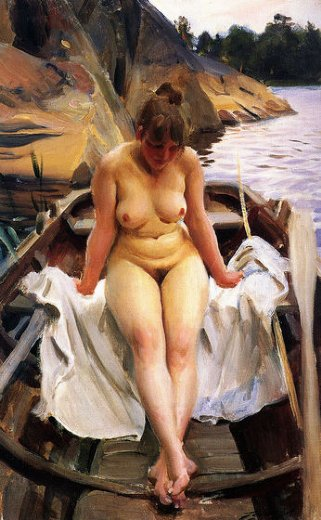 anders zorn in werner s row boat painting