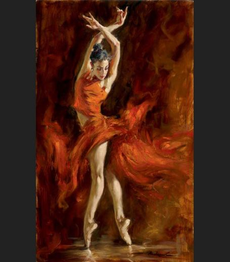 Portrait Art Abstract Ballerina Dancer Oil Painting on Canvas Andrew Atroshenko