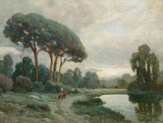 Angel espoy landscape with rider and lake painting angel for Angel paintings for sale
