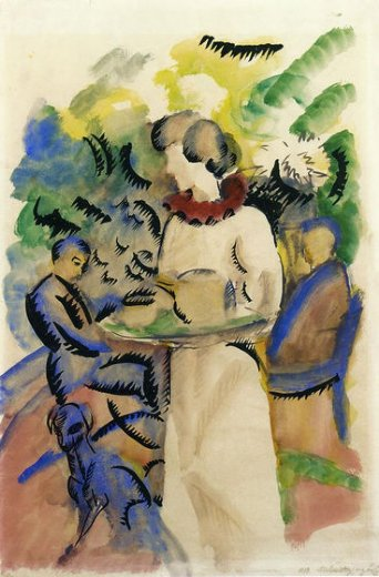 august macke afternoon in the garden painting