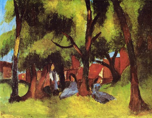 august macke children under trees in sun paintings