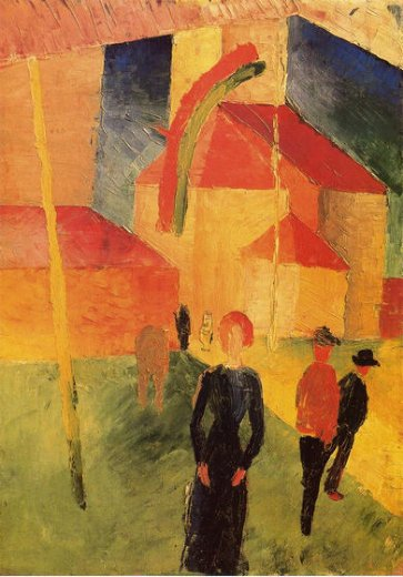 august macke church with flags oil painting