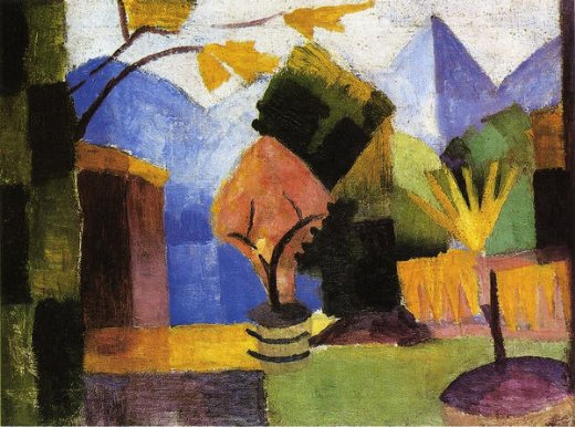 august macke garden on lake of thun oil painting