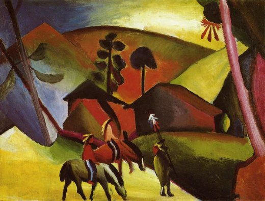 august macke indians on horses painting
