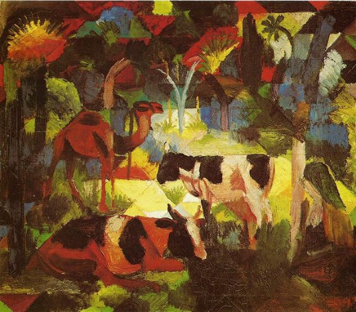 august macke landscape with coows and camel painting