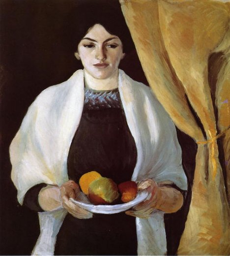august macke portrait with apples the artists wife oil painting