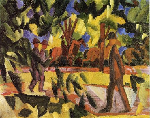 august macke riders and strollers in the avenue oil painting