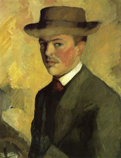 august macke self portrait with hat painting