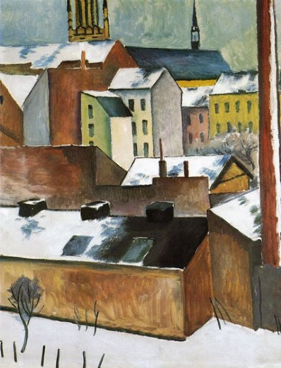 august macke st mary s in the snow painting