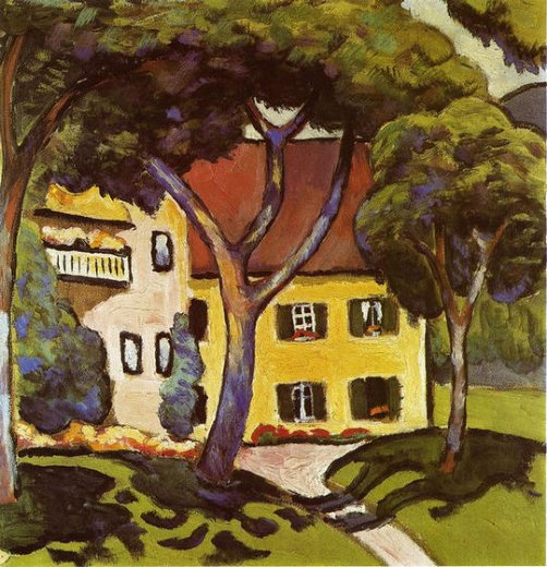 august macke staudacher s house at tegernsee painting