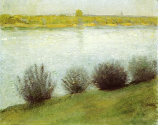 august macke the rhine near herzel painting