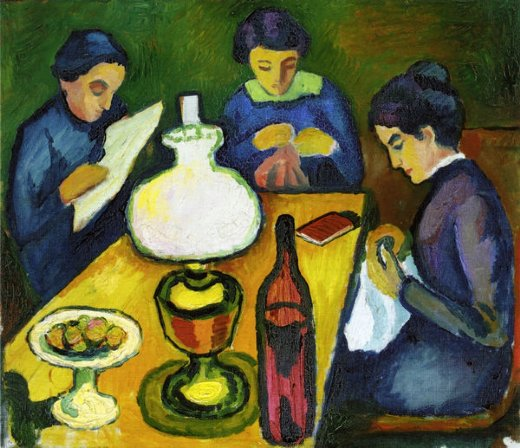 august macke three women at the table by the lamp painting
