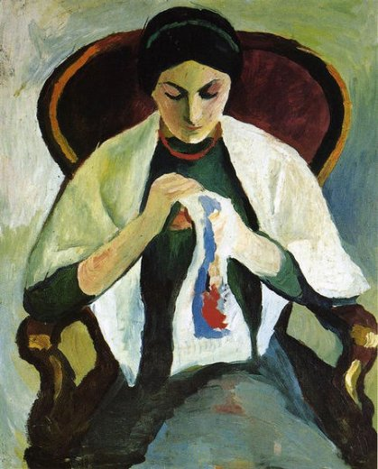 august macke woman embroidering in an armchair portrait of the artist s wife paintings