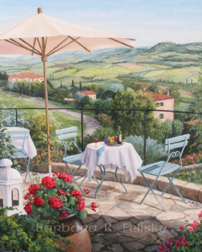 barbara feliskybalcony overlooking vineyards Painting-77465